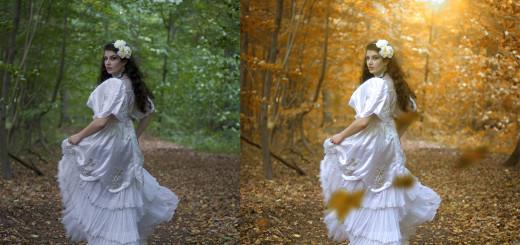 Projekt zum Thema Fantasy,Tüll, Kleider,Blumen,Wald